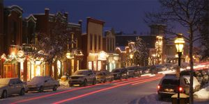 The Town of Breckenridge by night.